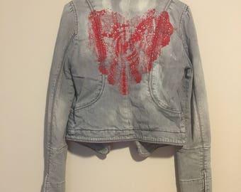 Red Heart, Upcycled Jean Jacket, hand printed, Armani Exchange, Acid Wash, Medium
