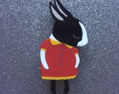 Shy Bunny Handmade Laser Cut Perspex Brooch - Black and White Dutchie Red Dress