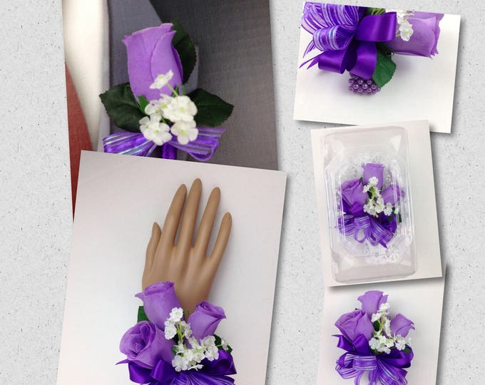 New Artificial Purple Rose Corsage, Purple Rose Mother's Corsage, Purple Corsage, Purple Bout