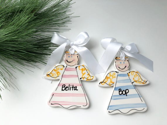 Hand painted, personalized, ceramic Angel Christmas ornament, angel ornament, baby ornament, christmas angel, christmas ornament