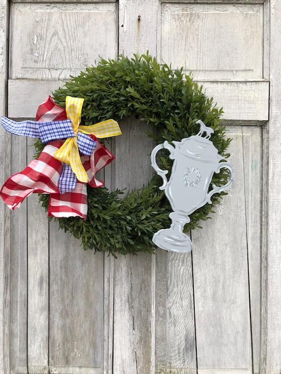Derby wreath, horse trophy door hanger, Derby door hanger, boxwood wreath, Kentucky Derby decoration, triple crown, racing wreath,