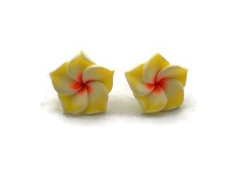 Yellow Hawaiian Flower Earrings - Plumeria - Tropical Rockabilly, Retro, Tiki, Pinup - Nickel Free