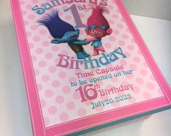 Troll Theme 1st Birthday Time Capusule Keepsake box