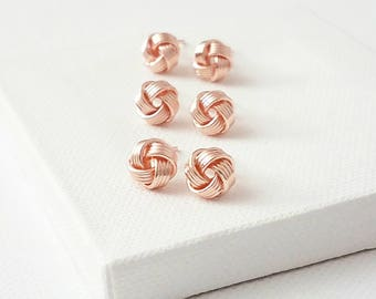 Tie the knot earrings Tie the knot studs Rose gold knot earring Rose gold knot studs Bridesmaid gift love knot Love knot earrings rose gold
