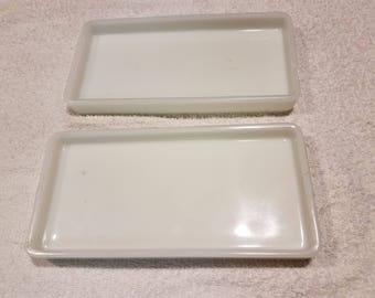 Pair of White Milk Glass Trays