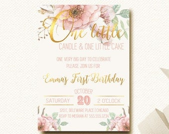 First Birthday Invitation Floral Boho Chic Invite One Little Candle Blush Floral Crown Gold Girls