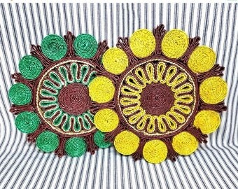 Yearly Big Sale: Vintage Straw Trivet Pair, Bright Colors Brown Green and Yellow, Retro Pot Holders Hotpad