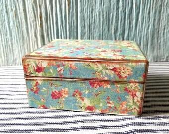Yearly Big Sale: Upcycled Decoupage Vintage Trinket Box, Wooden Sewing Box, Keepsake, Treasure Storage, Mom Gift, Flowers Floral Theme