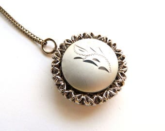 """Vintage Bushed Silver Locket Necklace - Etched Engraved Locket - Mid Century - Case - Photo Keeper - 18"""" Chain - 1 1/2"""" Round Pendant"""