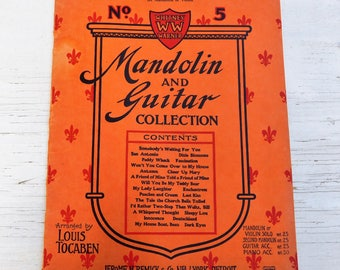 Vintage music book Whitney Warner Mandolin and Guitar Collection Memorabilia Ephemera Collectible Instrumental music Guitar Mandolin
