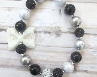 Black Silver Baby Bead Necklace, Toddler Bead Necklace, Toddler Jewelry, Baby Girl Necklace, Girl Necklace, Girl Jewelry