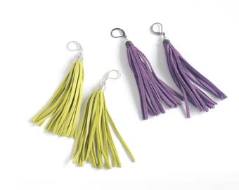Leather tassel earrings in lemon green and bright violet