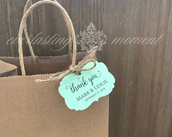 25 Fancy thank you tags - gift tags - wedding favor tags - personalized tags - baby shower thank you tags - baptism thank you tags