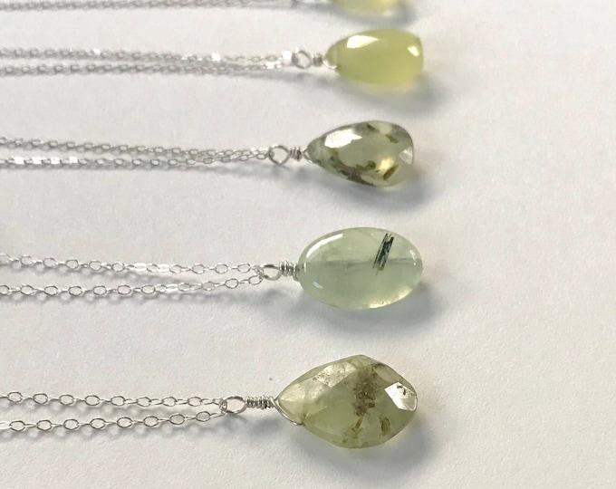 Simple Prehnite Pendant Necklace