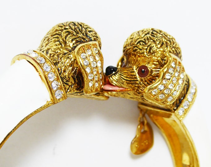 By Pass Poodle Clamper Bracelet - I love Poodles Charm - Kissing Dogs - Clear Rhinestones - White Enamel - Vintage 1990s HInged figural Cuff