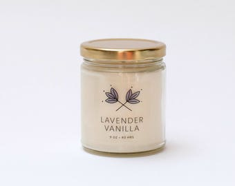 Lavender Vanilla Soy Candle Jar - 9 oz - all natural, eco-friendly 100% soy wax candle