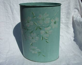 Vintage Beautiful Hand Painted Heavy Duty Metal Wastebasket Trash Can Teal Colored