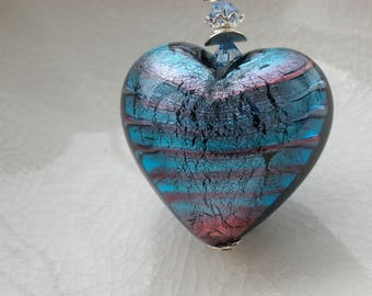 Amethyst & Blue Murano Heart Necklace