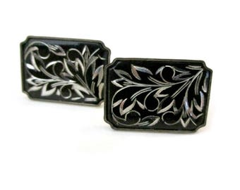 Vintage Damascene Amita Japan Sterling Silver Screw On Earrings Flower Scroll Design Black Silver Under 25