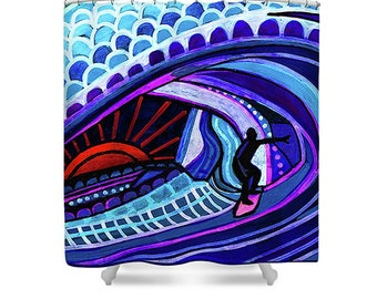 Surfer Wave Shower Curtain Surfboard Art Shower Curtain -Surfing Ocean Wave Decor surf by Heather Galler - beach lovers Hawaii North Shore