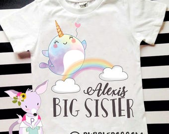Big Sister Narwhal Shirt Narley Cute Big Sister Tshirt Pregnancy announcement kids shirt big sister shirt girls sister to be shirt
