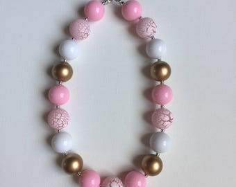 Pink and Gold Chunky Girls Necklace - Baby Girl Bubble gum Necklace -Pink and Gold Party - Chunky Girl Necklace - Gold Party