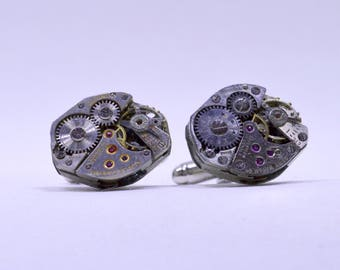 Stunning oval watch movement cufflinks ideal gift for a wedding, birthday or anniversary 103