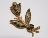Damascene Flower Pin Faux Pearl, Black and Gold Floral Brooch, Mid Century Spanish Jewelry  917