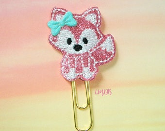 Pink Fox Glitter Paperclip Planner Clip