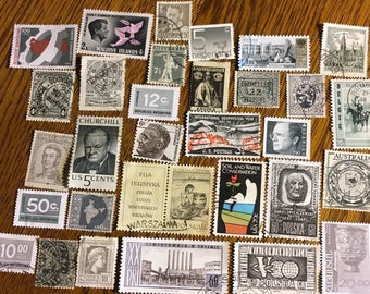 30 Worldwide GRAY Black Used Postage Stamps for paper crafting, collage, cards, scrapbooking, scrapbooks, decoupage, stamp collecting 8c
