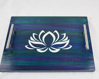 Water Color Lotus Stained Wood Serving Tray, Coffee Tray, Tea Tray, Espresso Tray