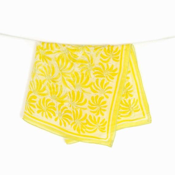 Vintage Yellow Dancing Flowers Scarf by Vera Neumann / Japanese Silk Scarf / Floral Print Scarf