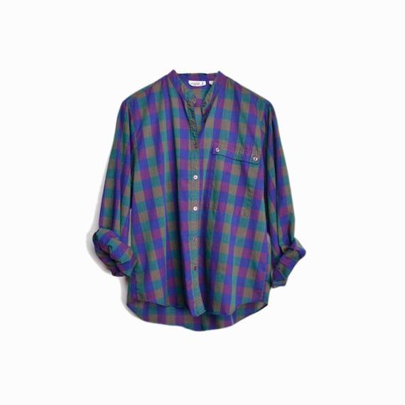 Vintage 80s Indigo Plaid Women's Shirt / Lightweight Blue Plaid Blouse - women's large