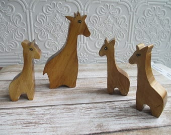 Vintage Handmade Wooden Giraffe Shelf Sitters Miniature set of 4  - Wood Folk Art