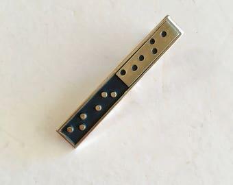 Polka Dot Tie Clip Dominoes Black Enamel Gold Tone Midcentury Swank 60s 70s Vintage 2 inch Tie Bar