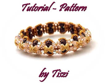 Beading tutorial for beaded bracelet Fanna with Crescent, Pinch and bicones. Beading pattern for bracelet. PDF instructions, step by step