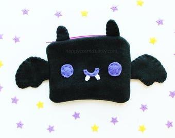ON SALE - Bat Zipper Pouch - Pencil Pouch, Pencil Case, School Supplies, Make Up Bag, 3DS Case, Phone Case, Coin Purse