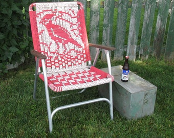 Mid Century Macramé Lawn Chair- Red & White with Cardinal Design