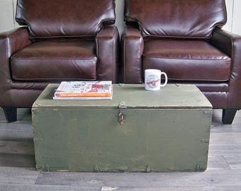 1940s-50s U.S. Army Footlocker, Military Footlocker, Storage Trunk, Wooden Box, Coffee Table Trunk