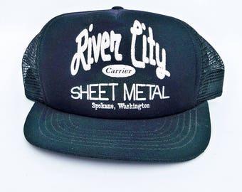 1980s Mesh Back Truckers Hat with River City Sheet Metal Logo, Spokane, WA,  Workman's Hat