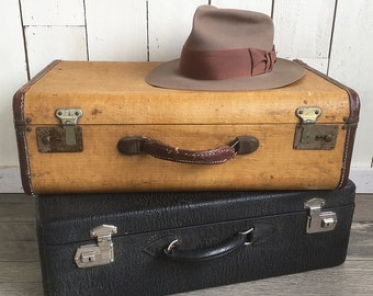 1930s-40s Tweed & Leather Hard-sided Suitcase - Nicely Distressed, Perfect for Stacking or Prop