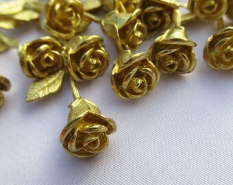 5pcs Golden Rose Branch Brass Filigree for Broochs Earrings bf290