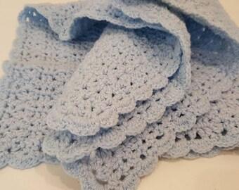 Perwinkle crocheted baby blanket