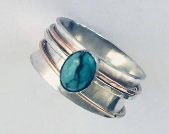 Wedding Rings For Women - Unique Fidget Ring - Mens Spinner Ring - Turquoise Ring For Women - Unique Wedding Spinner Ring