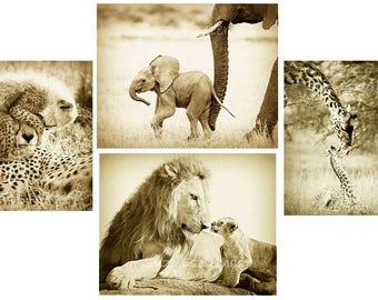 ANIMAL GREETING CARDS, Set of 4, Blank Greeting Cards, Wildlife Photograph,  Safari, cheetah, giraffe, lion, elephant, vintage sepia, baby