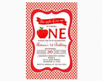 Apple Birthday Party Invitation 2, Apple of Our Eye Birthday Party Invitation, 1st Birthday, Personalized, Printable or Printed
