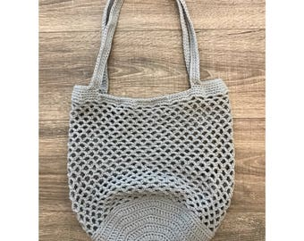 Large Crochet Market Bag | Gray