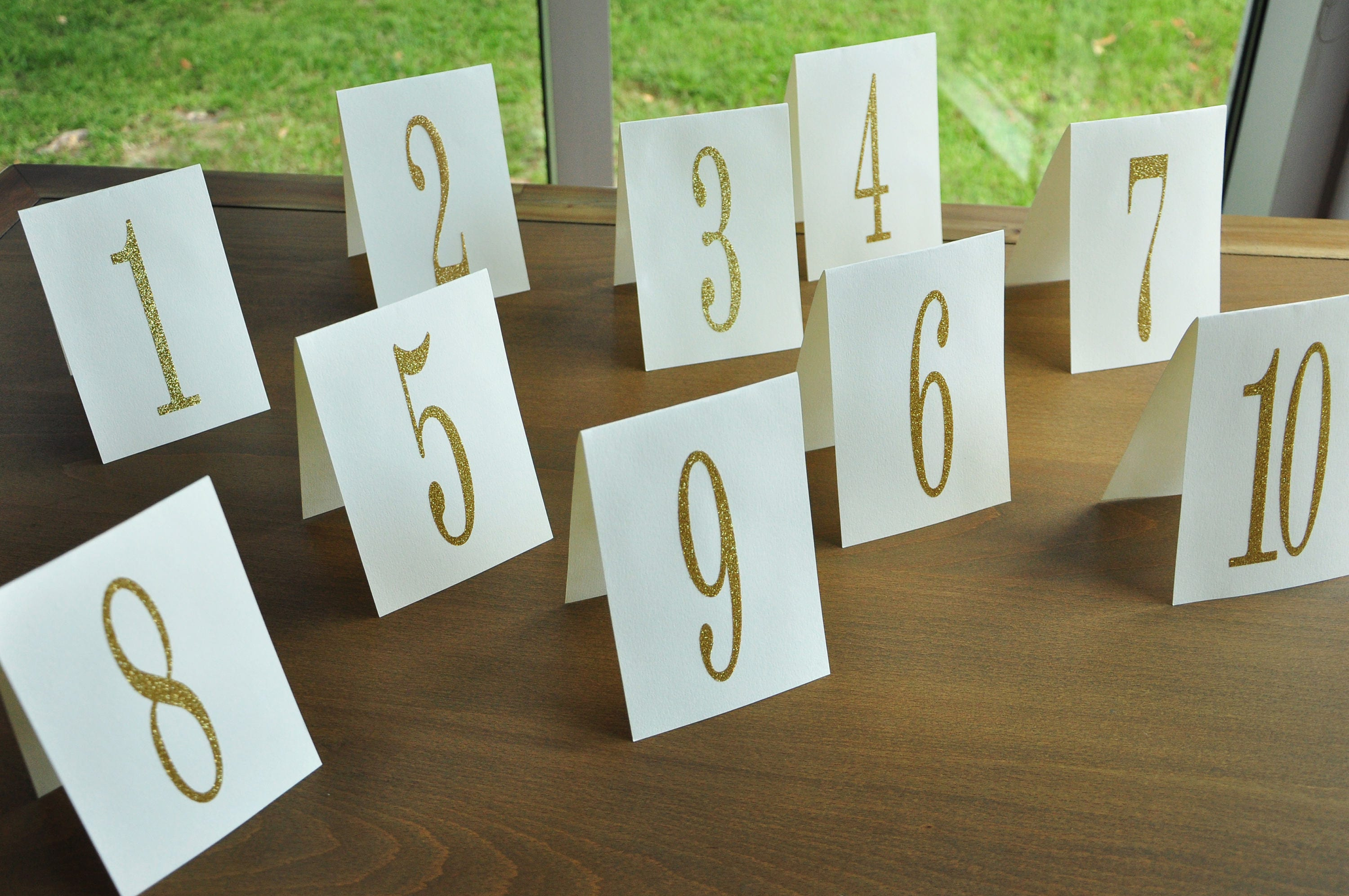 Table Number Tents. Gold Table Numbers 1-10. Hand Crafted in 3- & Table Number Tents. Gold Table Numbers 1-10. Hand Crafted in 3-5 ...