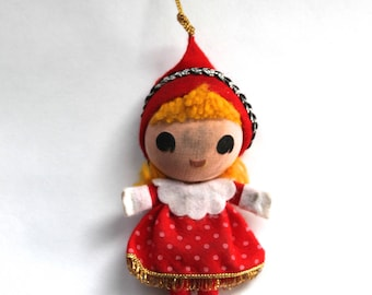 Vintage 1960's Red and White Dress Christmas Ornament Made in Japan! Cute!