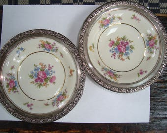 Pair Wallace Sterling Rimmed China Bowls Tirchenreuth Germany 6 Inch
